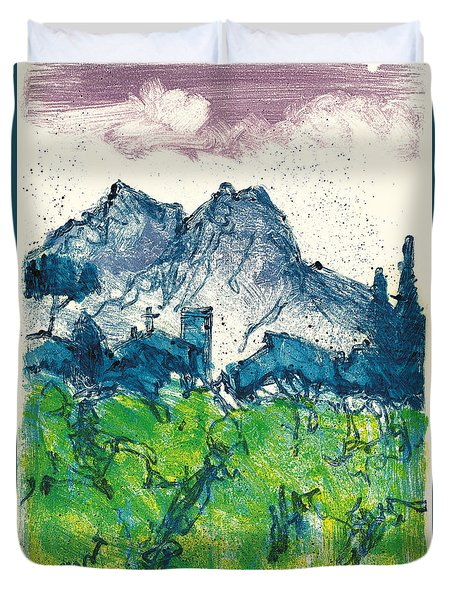 Duvet Cover featuring the painting Provence Landscape Alpilles by Martin Stankewitz
