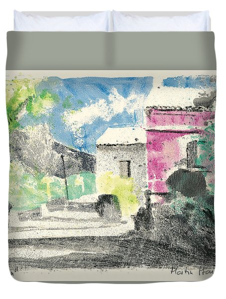 Duvet Cover featuring the painting Provence Landscape Village Cucuron by Martin Stankewitz