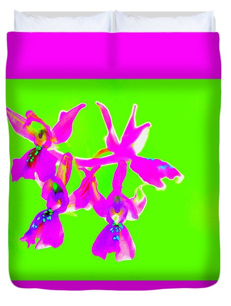 Green Provence Orchid  Duvet Cover