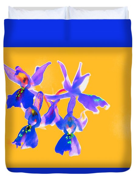 Orange Provence Orchid  Duvet Cover