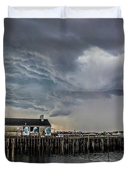 Duvet Cover featuring the photograph Provincetown Storm, Cabrals Wharf by Charles Harden