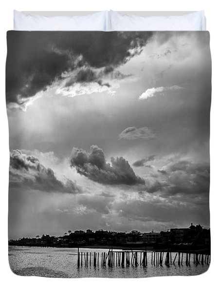 Duvet Cover featuring the photograph Provincetown Storm by Charles Harden
