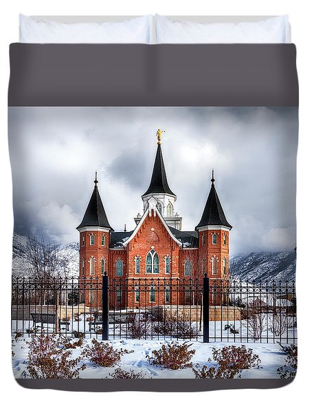 Provo City Center Temple Lds Large Canvas Art, Canvas Print, Large Art, Large Wall Decor, Home Decor Duvet Cover by David Millenheft