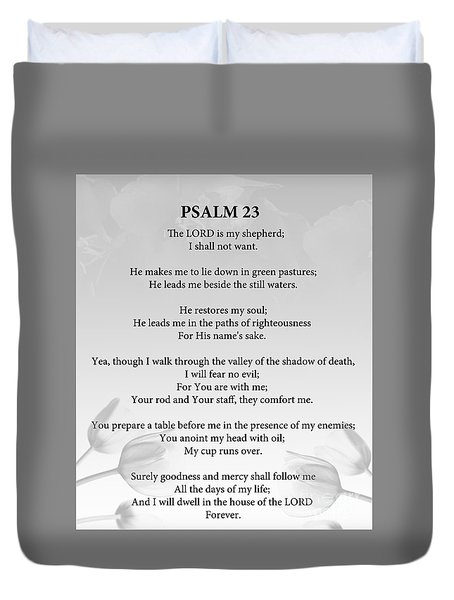 Duvet Cover featuring the painting Psalm 23 by Trilby Cole