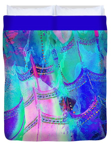 Psychedelic Blue Shoes Shopping Is Fun Abstract Square 4f Duvet Cover
