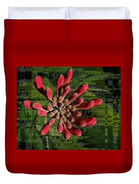Duvet Cover featuring the photograph Psychedelic Bud by Jean Noren