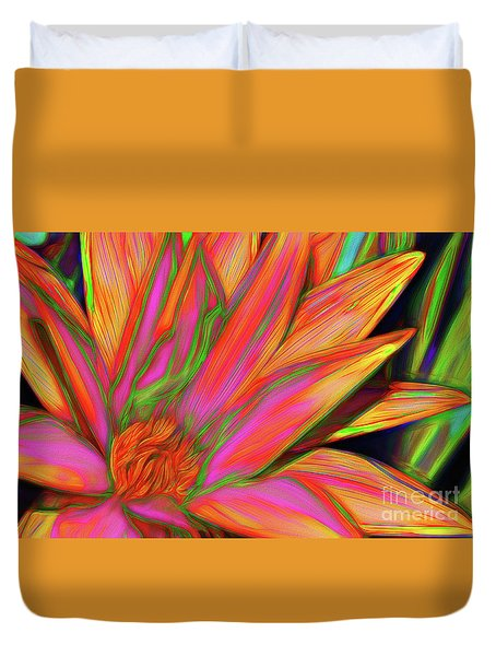 Duvet Cover featuring the photograph Psychedelic Daisy By Kaye Menner by Kaye Menner