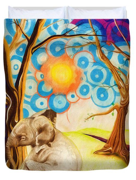 Duvet Cover featuring the drawing Psychedelic Elephants by Shawna Rowe