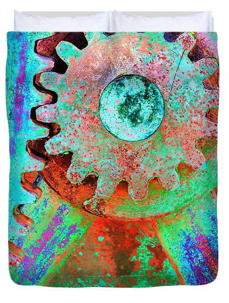 Psychedelic Gears Duvet Cover