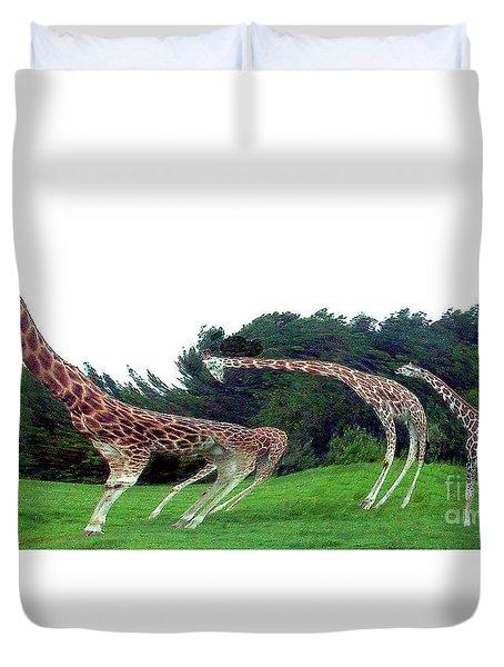 Duvet Cover featuring the digital art Psychedelic Giraffes by Merton Allen