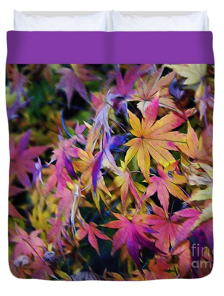 Psychedelic Maple Duvet Cover by Kaye Menner