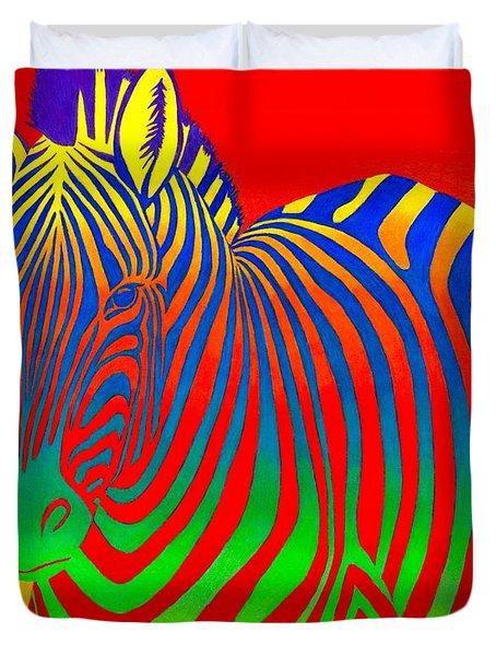 Psychedelic Rainbow Zebra Duvet Cover