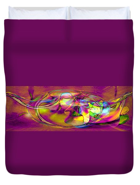 Duvet Cover featuring the digital art Psychedelic Sun by Linda Sannuti
