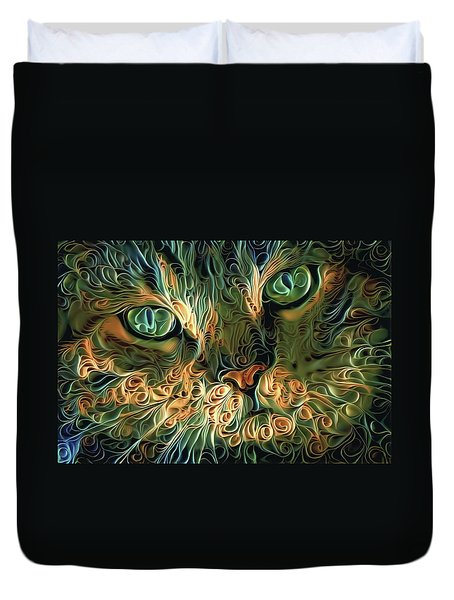 Psychedelic Tabby Cat Art Duvet Cover