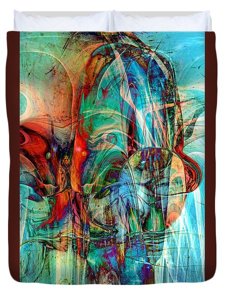 Duvet Cover featuring the digital art Psychotic by Linda Sannuti