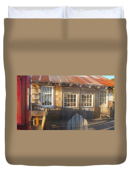 Duvet Cover featuring the photograph Pt. Reyes Boathouse by Dianne Levy