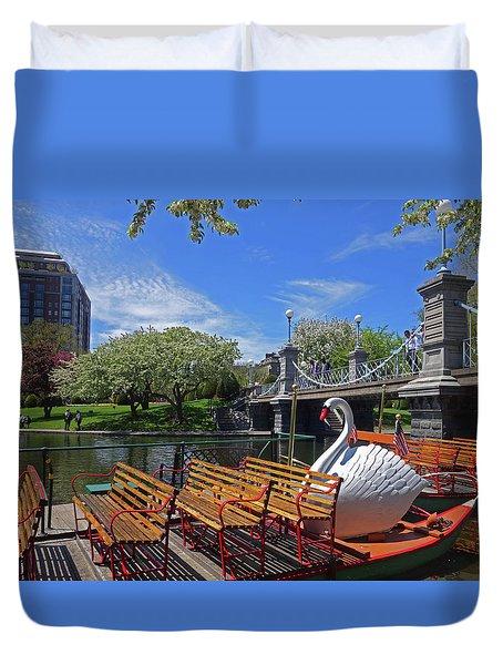 Public Garden Swan Boat In The Spring Boston Ma Duvet Cover