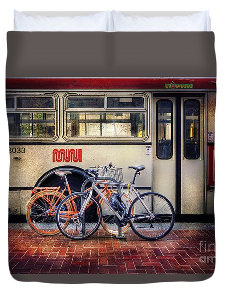 Duvet Cover featuring the photograph Public Tier Bicycles by Craig J Satterlee