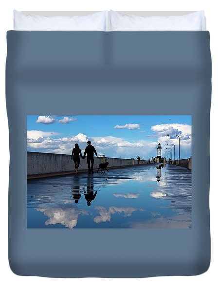 Duvet Cover featuring the photograph Puddle-licious by Mary Amerman