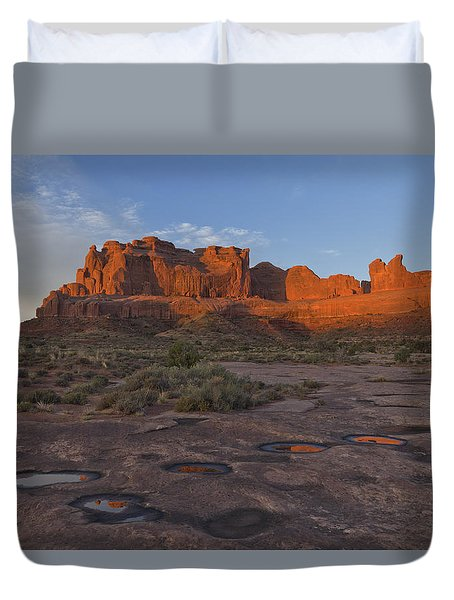 Puddle Reflections At Sunrise Duvet Cover