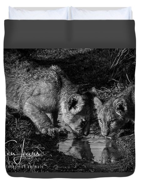 Duvet Cover featuring the photograph Puddle Time by Karen Lewis