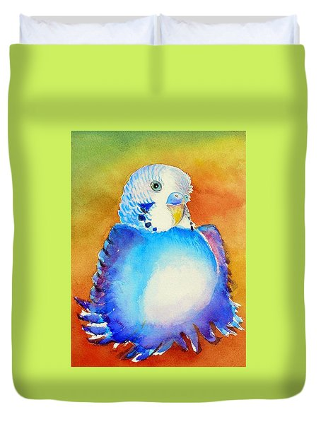 Duvet Cover featuring the painting Pudgy Budgie by Patricia Piffath