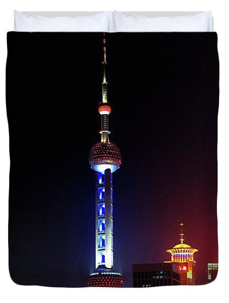 Pudong New District Shanghai - Bigger Higher Faster Duvet Cover by Christine Till