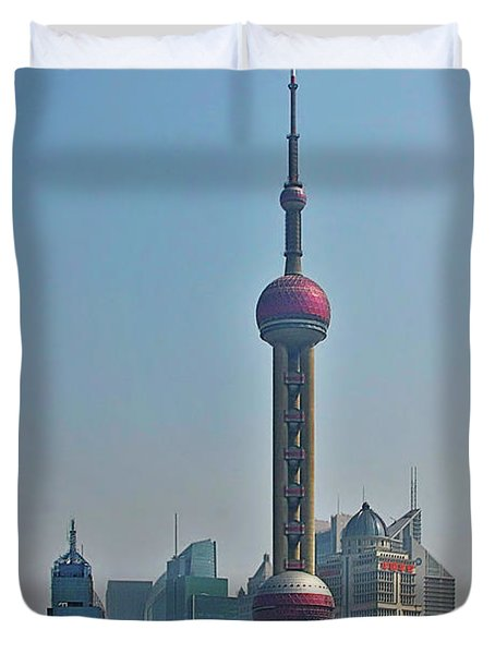 Pudong Shanghai Oriental Perl Tower Duvet Cover by Christine Till