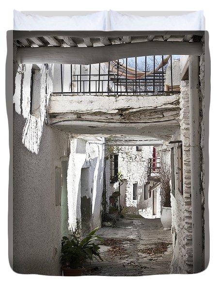 Duvet Cover featuring the photograph Puebla Blanca Capileira by Heiko Koehrer-Wagner