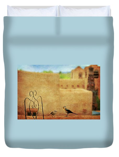 Duvet Cover featuring the photograph Pueblo Village Settlers by Diana Angstadt