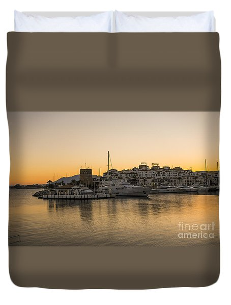 Puerto Banus In Marbella At Sunset. Duvet Cover