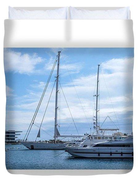 Puerto De Valencia, Spain.  #fuji Duvet Cover by Marcelo Valente