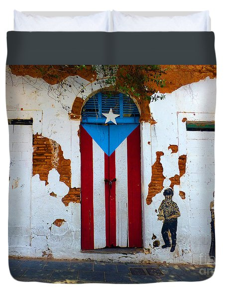 Puerto Rican Flag On Wooden Door Duvet Cover