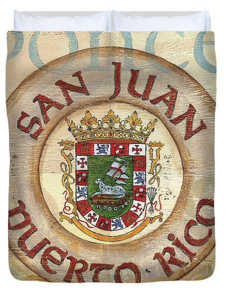 Puerto Rico Coat Of Arms Duvet Cover