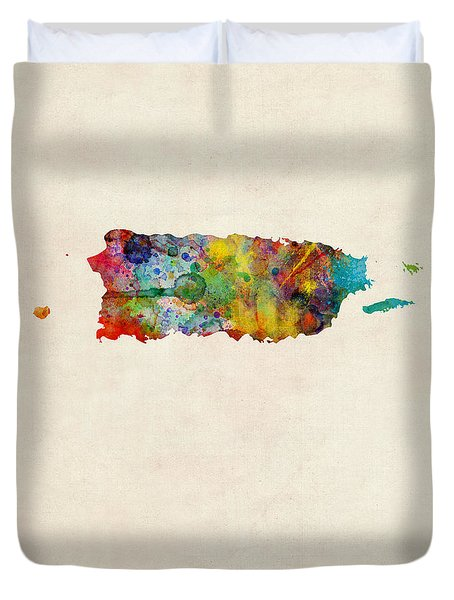 Puerto Rico Watercolor Map Duvet Cover