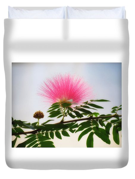 Puff Of Pink - Mimosa Flower Duvet Cover by MTBobbins Photography