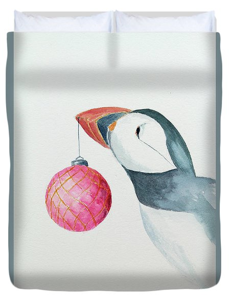 Puffin's First Christmas Duvet Cover by Doug Moore