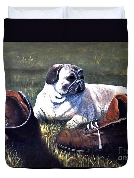 Pug And Boots Duvet Cover