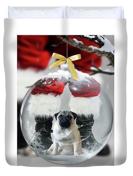 Pug And Santa Duvet Cover