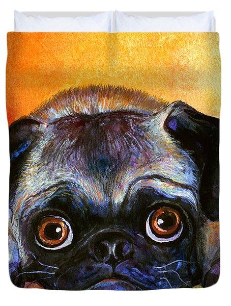 Pug Dog Portrait Painting Duvet Cover