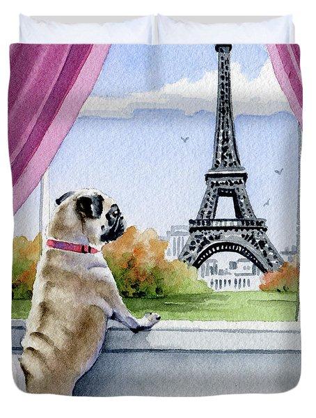 Pug In Paris Duvet Cover