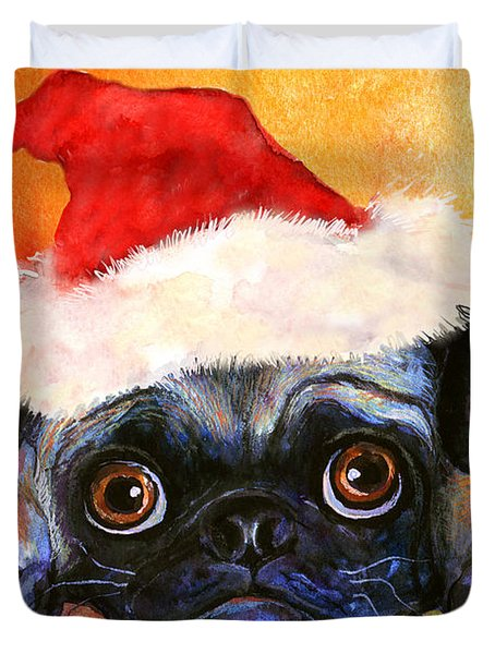 Pug Santa Portrait Duvet Cover