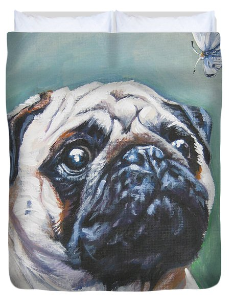 Pug With Butterfly Duvet Cover