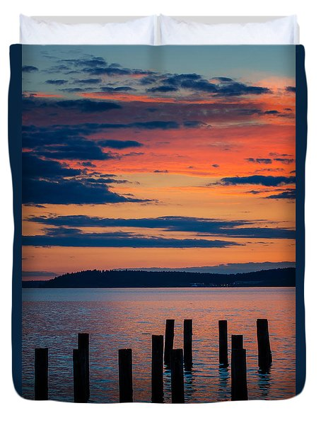 Puget Sound Sunset Duvet Cover