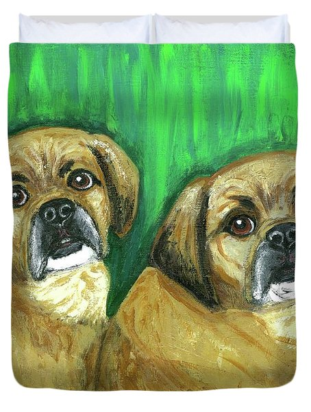 Puggles Bruno And Louie Duvet Cover