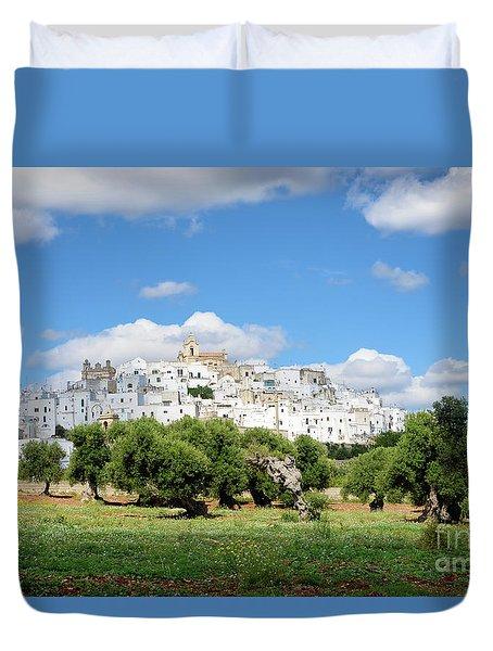 Puglia White City Ostuni With Olive Trees Duvet Cover