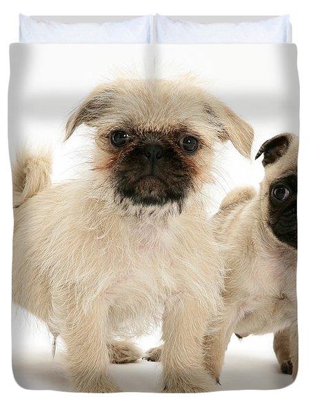 Pugzu And Pug Puppies Duvet Cover by Jane Burton
