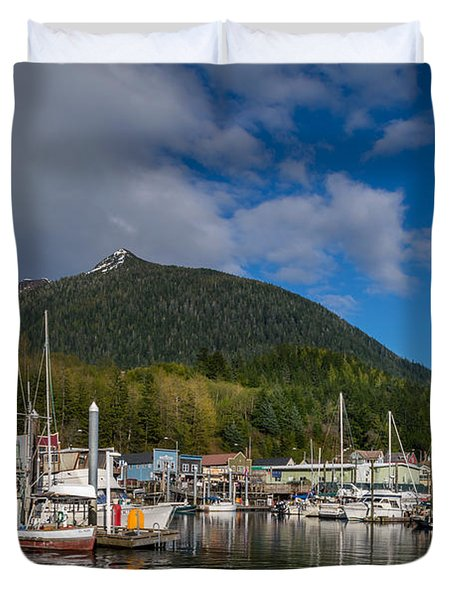 Pulling Into Ketchikan Harbor Duvet Cover