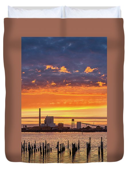 Pulp Mill Sunset Duvet Cover by Greg Nyquist