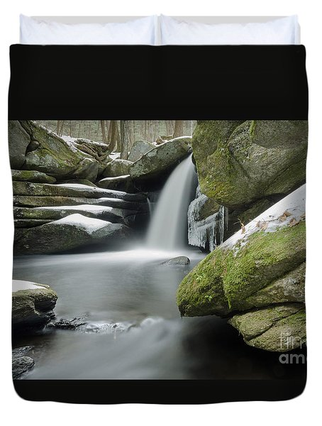 Pulpit Falls Winter Long Exposure Duvet Cover